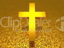 3D gold Christentum Kreuz auf goldener Struktur
