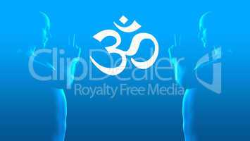Om Sign - Double Meditation - blue white