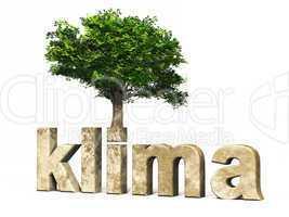 3D Schrift klima mit Baum
