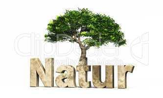 3D Schrift Natur mit Baum