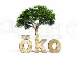 3D Schrift öko mit Baum