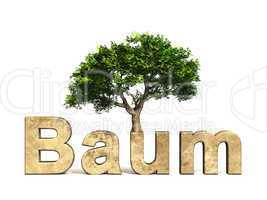 3D Schrift Baum mit Baum