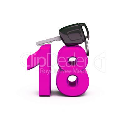 endlich 18 endlich den f hrerschein pink lizenzfreie. Black Bedroom Furniture Sets. Home Design Ideas