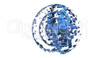 3D Background - Blue Cubes Planet
