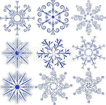 Set Blue Snowflakes