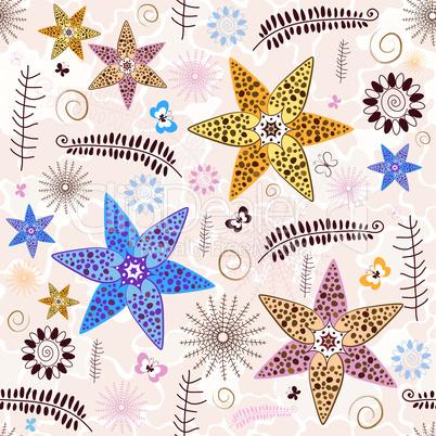 Pink-white Seamless Floral Pattern