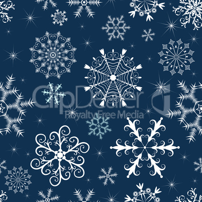 Dark blue winter pattern with snowflakes