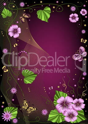 Decorative dark violet floral frame