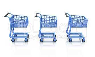 3x 3D Einkaufswagen in Folge - Blau
