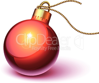 Shiny red christmas ornament
