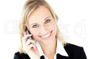 Friendly young businesswoman talking on phone