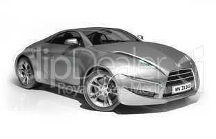 Aluminum sports car isolated on white background