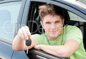 Animated caucasian man holding a car key