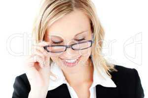 Confident businesswoman wearing glasses