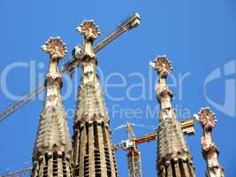 Towers of the Sagrada familia church, Barcelona, Spain