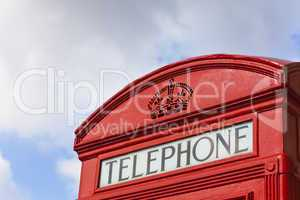 Close up of Classic London Red Telephone Box