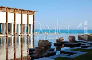 Restaurant, swimming pool and beach of luxury hotel, Crete, Gree