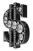 Black 3D Dollar symbol incrusted with diamonds