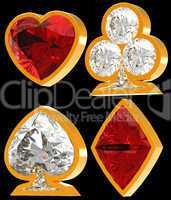 Diamond shaped Card Suits