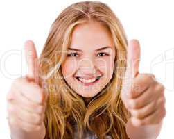 Closeup of women showing thumbs up in both hands