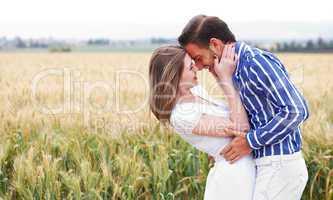 Couple getting close in romance