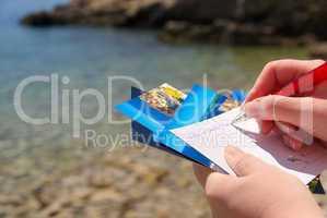Ansichtskarte schreiben - writing a picture postcard 06