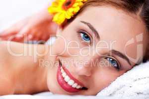 Close up shot of pretty woman at spa