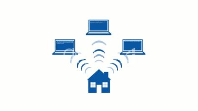 A graphical representation of a wireless home network.  Alpha matte included.