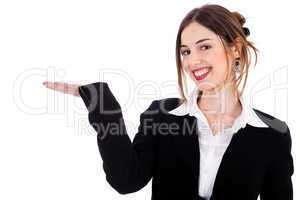 Women pointing at the copy space