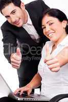 Corporate people showing thumbs up