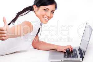 young business Woman showing thumbs up sign