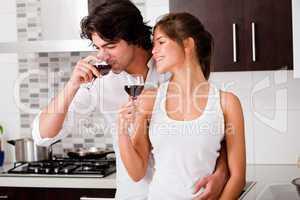 honeymoon couple drinking wine