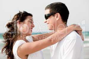 love couple look each other and smile