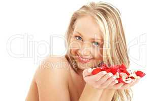 lovely blond in spa with red and white rose petals #3