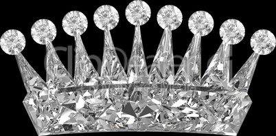 Crown shaped Diamond over black background