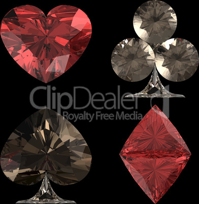 Colored Diamond shaped Card Suits