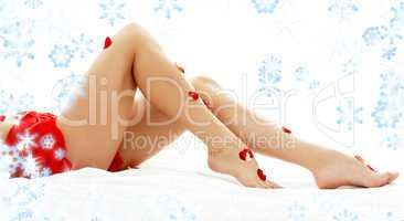 long legs lady in spa with snowflakes