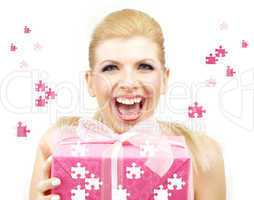 lucky blonde with puzzle gift box