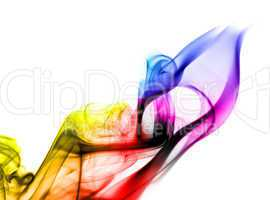 Bright colorful fume abstract shapes over white
