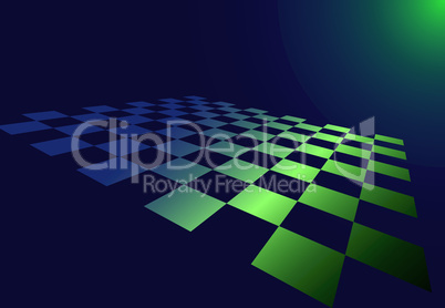 Abstract checked board whith dropping green glow