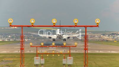 time-lapse, landing Boeing 737 taxing jet and Boeing 737 taxi