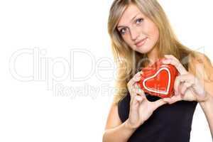 Smiling Young Woman Holding a Heart