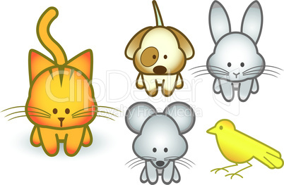 Vector illustration set of cartoon pet animals.