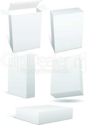 Vector illustration set of blank retail box.