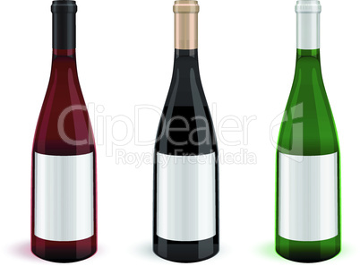 Vector illustration of three realistic wine bottles.