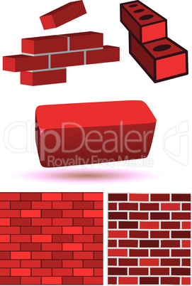 Brick and wall vector illustration set.