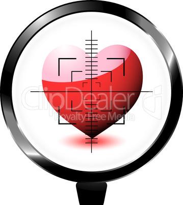 Herz in Zielscheibe