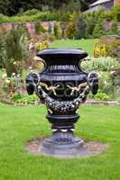 Ornate black garden vase