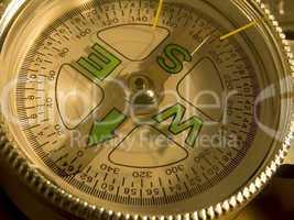 closeup of compass dial