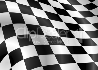 Schwarz-weiß karierte Fahne